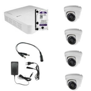 HD Coax KIT m. 4 DOME kamera